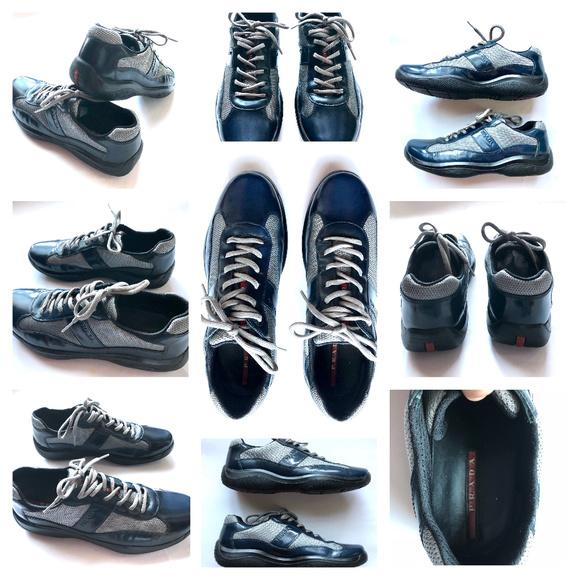 Prada Other - Prada Leather Mesh Navy Blue Black Sneakers 9.5